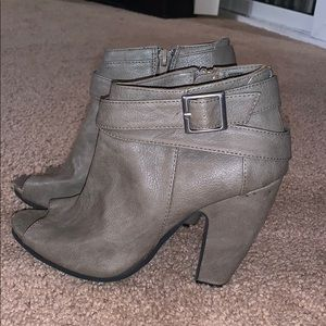 Gray peep toed booties size 6